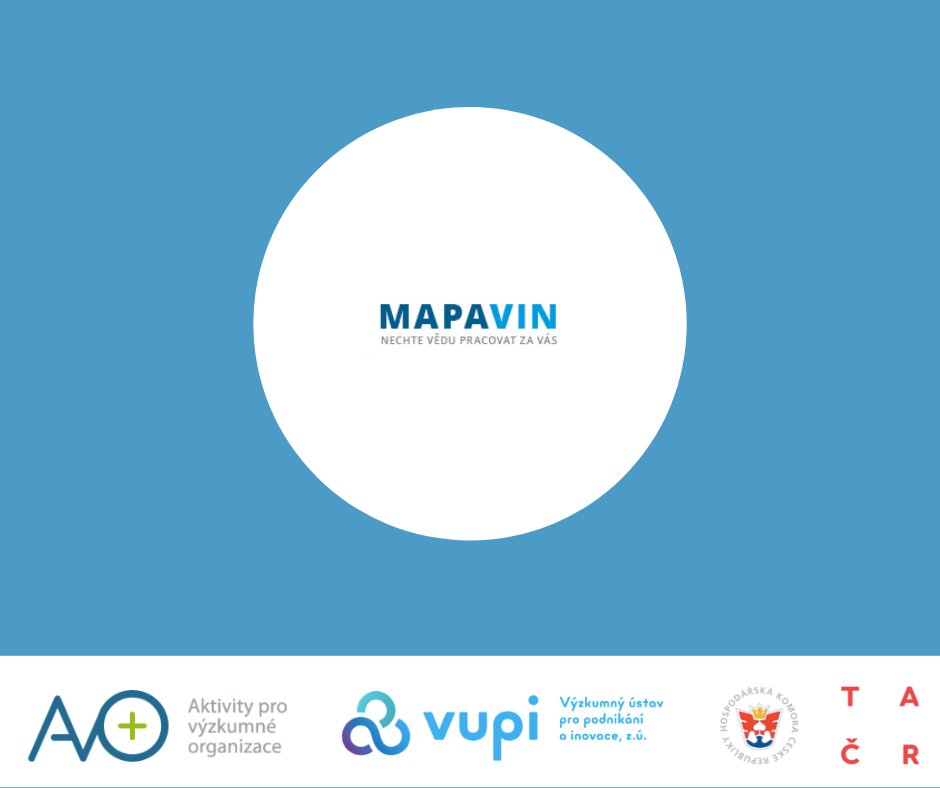 Aplikace Mapavin pro výzkumné organizace a jejich týmy, kterou můžou využít k navázání spolupráce.